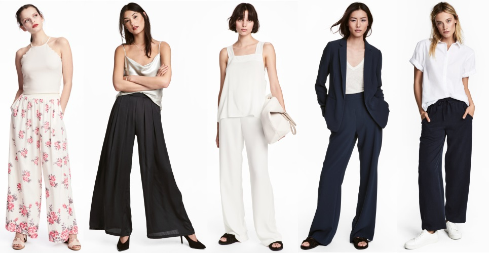 hm wide legs pants outfits