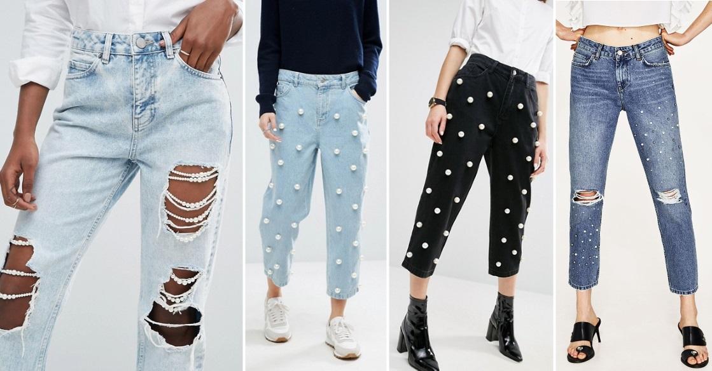 pearl embellished jeans asos zara